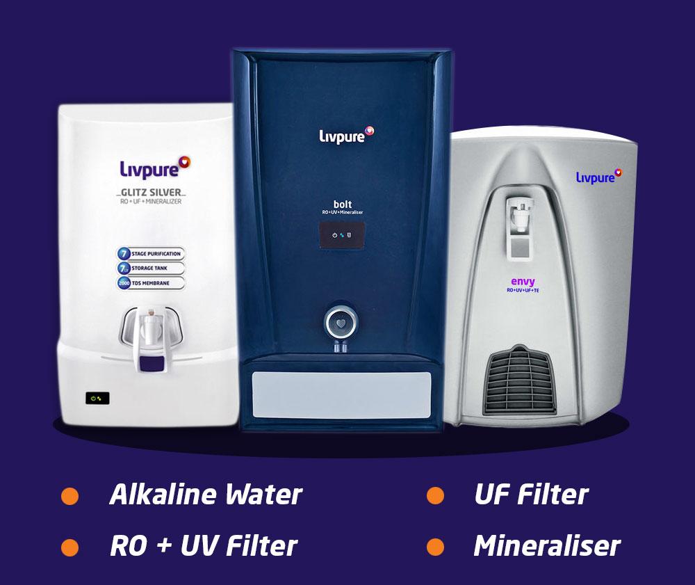 Alkaline water, UF filter, RO+UV filter, Mineraliser